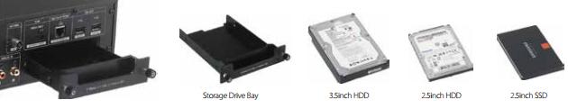 De Cocktail Audio X35 heeft de mogelijkheid om een HDD (3.5 inch of 2.5 inch) of SSD (2.5 inch) te plaatsen aan de achterzijde