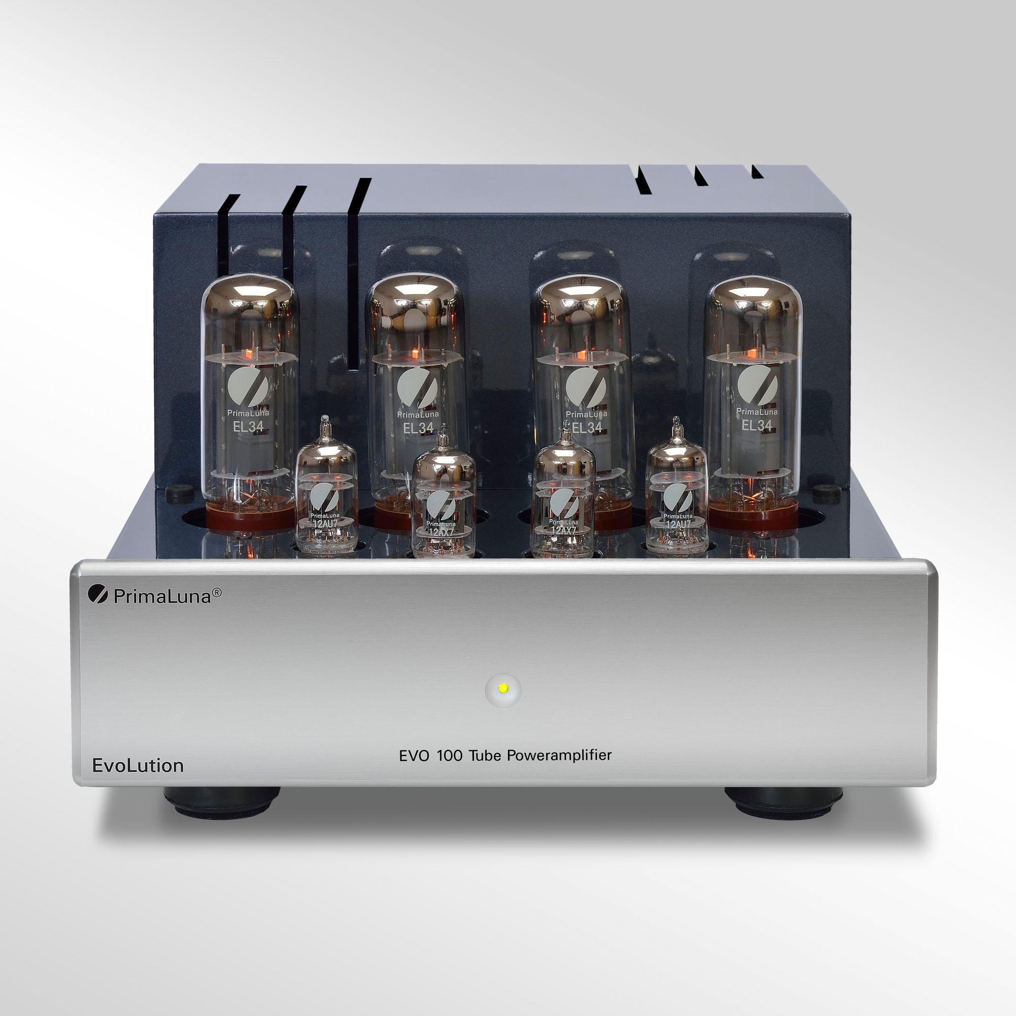 De PrimaLuna Evo 100 is de kleinste eindversterker van PrimaLuna, afkomstig uit de Evolution 100 serie