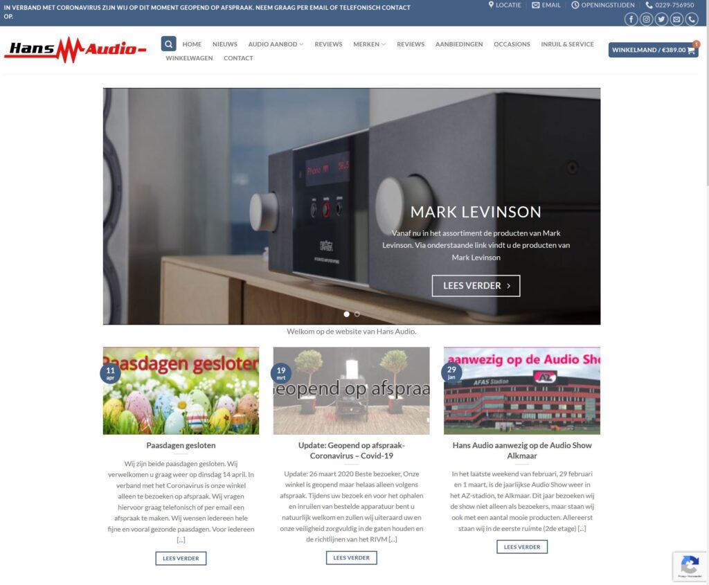 Nieuwe Website Hans Audio Berichten