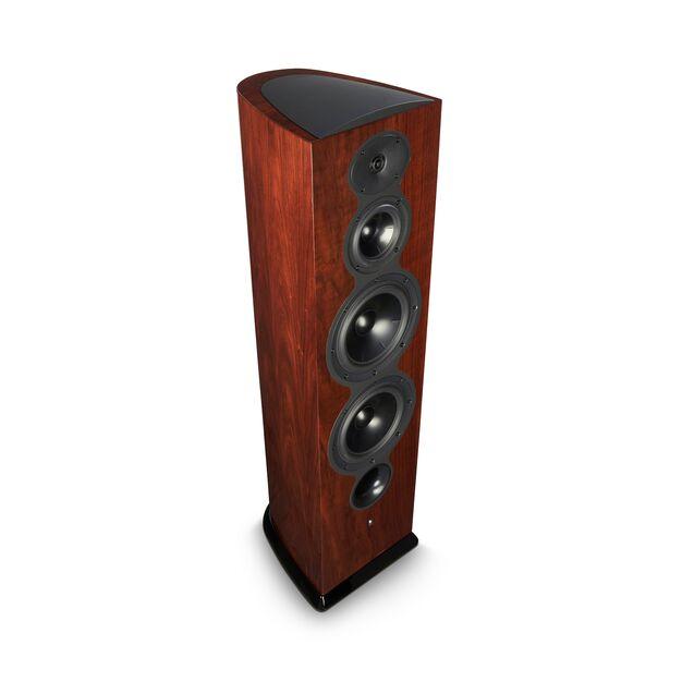 De Revel Perfoma3 F208 luidspreker is verkrijgbaar in hoogglans walnoot en hoogglans zwart